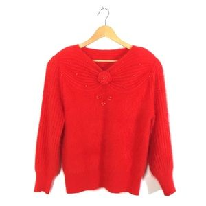 Holly Red Korean Angora Knit V-Neck Sweater S/M